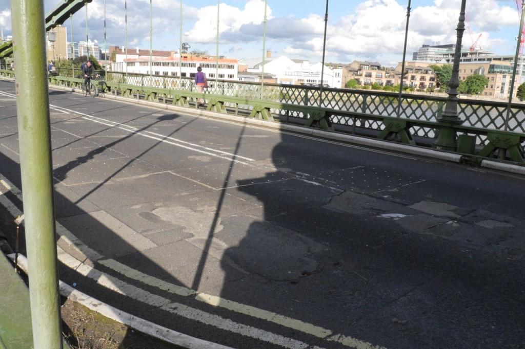 Severely degraded surface of Hammersmith Bridge