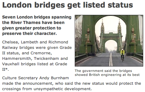 when Hammersmith Bridge was listed, the BBC depicted it as a cycling heaven