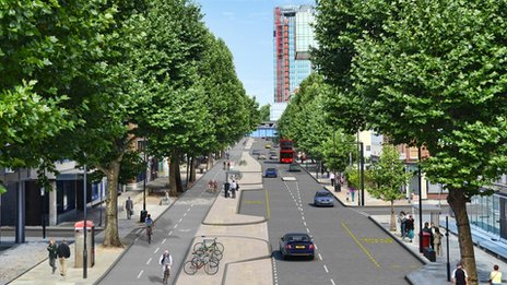 An example of segregation that could be used on Kensington High Street - at risk due to the council objecting