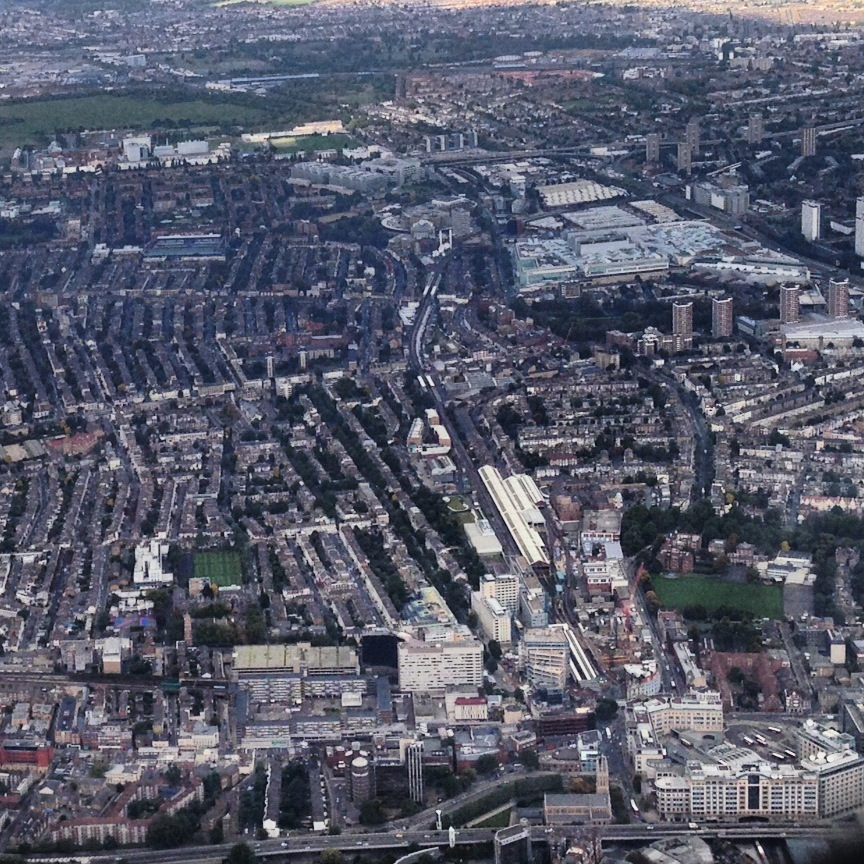 Hammersmith Broadway in 2012 shot from landing plane (lucky)