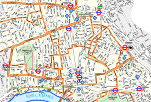 East-West routes on central section of 2006 LBHF cycling map