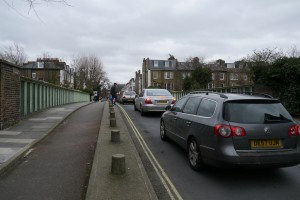 Segregated space for cycling on Addison Bridge, no fear of this queue of cars but...