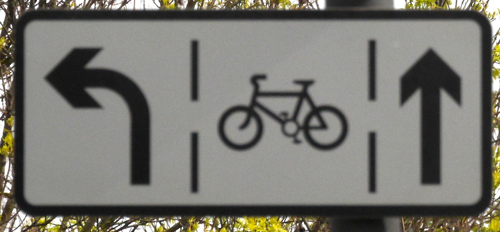 The sign telling drivers about the cycle lane...