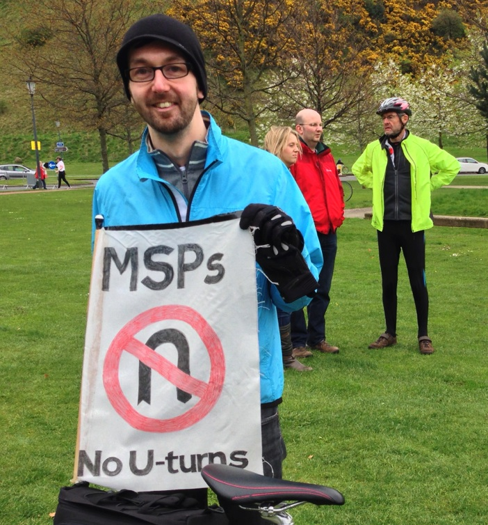 MSPs - No U-turns, from the Scottish Pedal on Parliament protest
