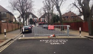 A fire gate on Aldbourne Road, very narrow gaps and could be improved, but keeps this road quieter for residents.